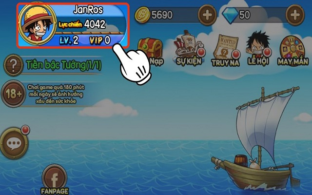 Nhấn vào avatar ở góc trái màn hình chính