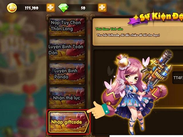 Nhập giftcode người chơi sẽ được nhận rất nhiều phần thưởng